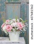 bouquet of roses  matthiolas... | Shutterstock . vector #607681562