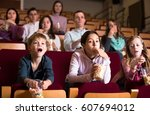 enthusiastic audience attending ... | Shutterstock . vector #607694012