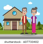couple with house home image | Shutterstock .eps vector #607733402