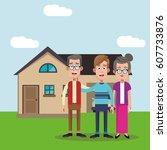 family members house image | Shutterstock .eps vector #607733876