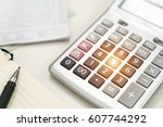 saving account book from bank... | Shutterstock . vector #607744292