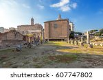 Small photo of ROME, ITALY - NOV 11, 2015: The Basilica Aemilia (179 BC) and the Curia Julia, a modern reconstruction (1932-1937) of the structure of the III century