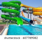 aquapark sliders with pool    Shutterstock . vector #607789082
