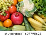 fresh fruit and vegetables. top ... | Shutterstock . vector #607795628