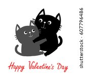 black gray cat hugging couple... | Shutterstock . vector #607796486