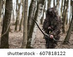 bow arrows and hunter. | Shutterstock . vector #607818122