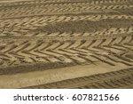 Tire Tread Footprints Of A...