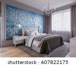 modern bedroom interior design... | Shutterstock . vector #607822175