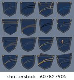 set of various pockets designs    Shutterstock .eps vector #607827905