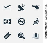 set of 9 simple travel icons.... | Shutterstock . vector #607836716