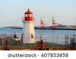 Saint John Coast Guard Base Lighthouse in Saint John Harbour, Saint John, New Brunswick, Canada.