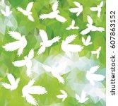 holy birds dove pattern. vector ... | Shutterstock .eps vector #607863152