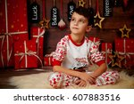 little boy in pajamas  hugging... | Shutterstock . vector #607883516