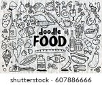 food and drink  doodles... | Shutterstock .eps vector #607886666