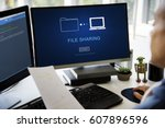 file sharing transfer data... | Shutterstock . vector #607896596