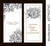 invitation with floral...   Shutterstock .eps vector #607903742