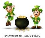 happy cartoon leprechauns with... | Shutterstock . vector #607914692