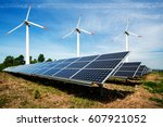 photo collage of solar panels... | Shutterstock . vector #607921052