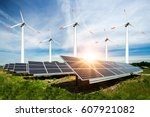 photo collage of solar panels... | Shutterstock . vector #607921082