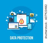 data protection  privacy  and... | Shutterstock .eps vector #607923482