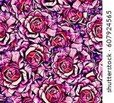 roses.seamless background.... | Shutterstock . vector #607924565