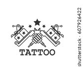 tattoo salon black and white... | Shutterstock .eps vector #607926422