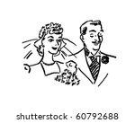 newlyweds   retro clip art | Shutterstock .eps vector #60792688