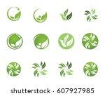 leaf logo natural health | Shutterstock .eps vector #607927985