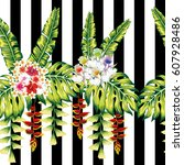 composition from tropical... | Shutterstock .eps vector #607928486