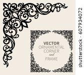 vector ornamental corner frame | Shutterstock .eps vector #607934072