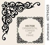 vector ornamental corner frame | Shutterstock .eps vector #607934225