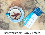 cup of coffee with the airplane ... | Shutterstock . vector #607942505