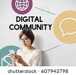 technology social media... | Shutterstock . vector #607943798