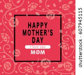 mother's day greeting card with ... | Shutterstock .eps vector #607945115