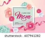 mother's day greeting card with ... | Shutterstock .eps vector #607961282