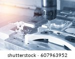 the cnc milling machine cutting ... | Shutterstock . vector #607963952