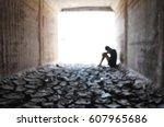 back light of a teenager... | Shutterstock . vector #607965686