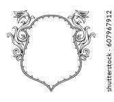 vector image of a heraldic... | Shutterstock .eps vector #607967912