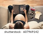 pregnancy and becoming parent... | Shutterstock . vector #607969142