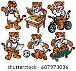 Stock vector cartoon character set of cute little tiger 607973036