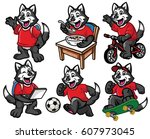 cartoon character set of cute...   Shutterstock .eps vector #607973045
