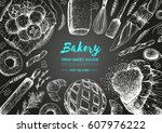 bakery top view frame. hand... | Shutterstock .eps vector #607976222