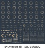 circle and square wicker... | Shutterstock .eps vector #607980002