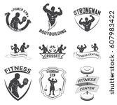 fitness emblems  logo design on ... | Shutterstock .eps vector #607983422