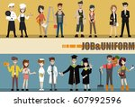 .different people professions... | Shutterstock .eps vector #607992596