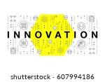 trendy yellow innovation... | Shutterstock .eps vector #607994186