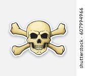 vector illustration. skull... | Shutterstock .eps vector #607994966