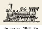 Vintage Locomotive. Hand Drawn...