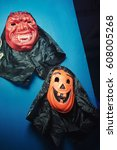 scary mask for halloween... | Shutterstock . vector #608005268