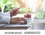 man hands making online payment ... | Shutterstock . vector #608006552